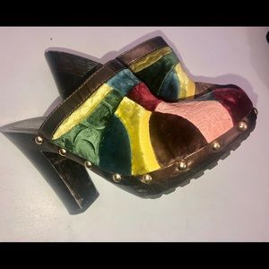 Coach Estelle patchwork clogs Sz 8.5 m